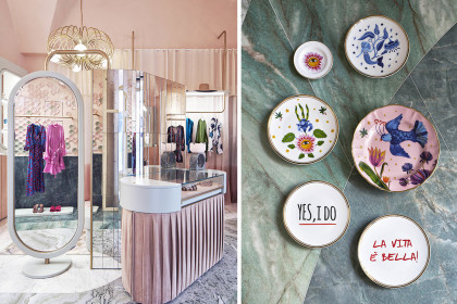 Interni della boutique The Pink Closet