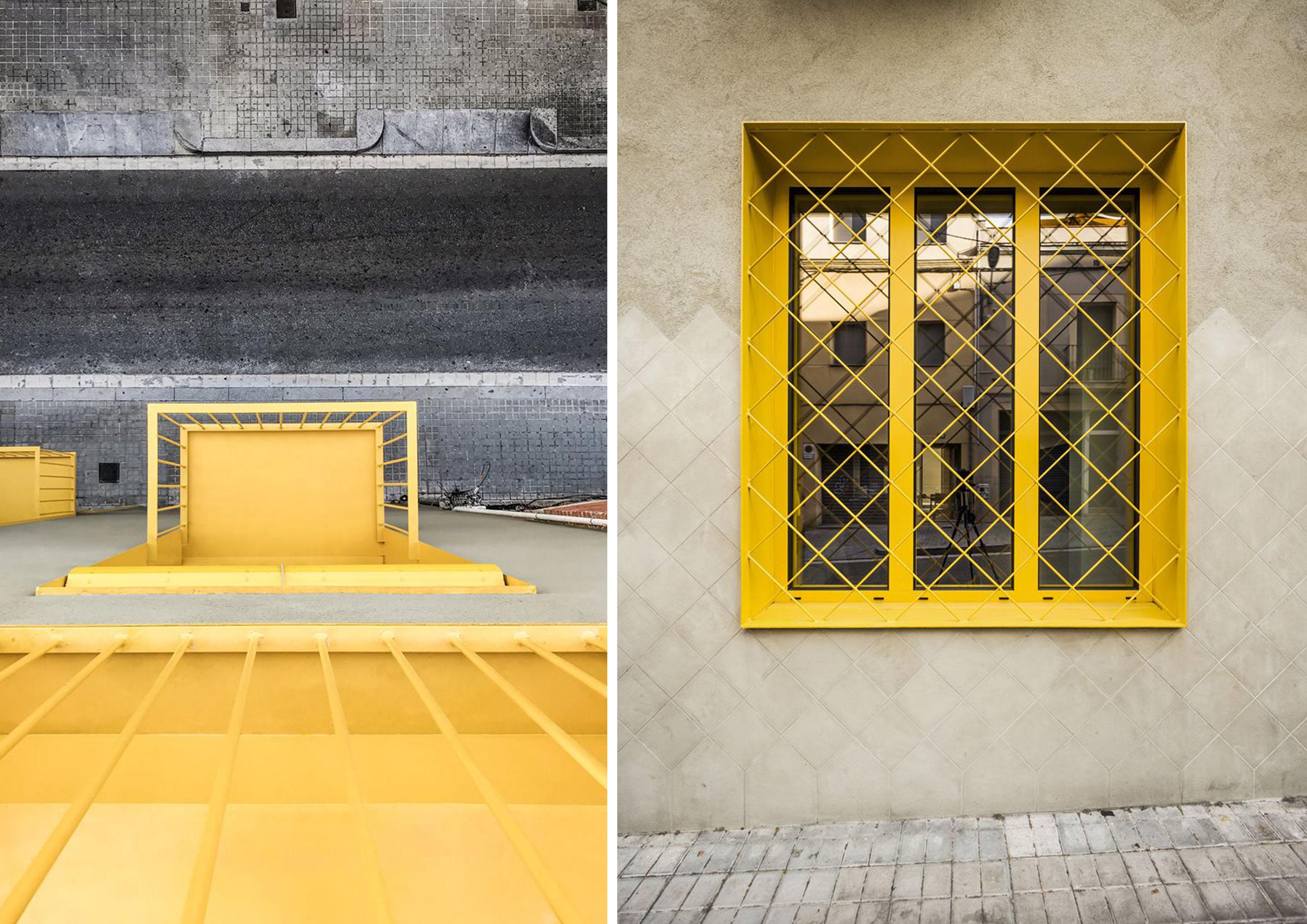 Dettagli in giallo dell'edificio